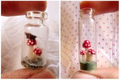 Loving these miniature toadstool terrariums in a 20 mm glass vial. Homemade Polymer Clay, Polymer Clay Recipe, Mini Terrarium, Terrariums, Easy Crafts, Diy And Crafts, Orange Butterfly, Have A Lovely Weekend, Mini Roses