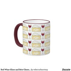 Red Wine Glass and Brie Cheese Drinking Mug