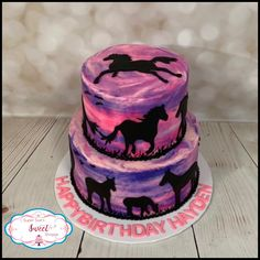 Spirit Horses Birthday cake - 2 tier cake with purple/pink sunset colored butte. Spirit Horses Birthday cake – 2 tier cake with purple/pink sunset colored buttercream. Fondant c Fondant Horse, Horse Cake, Horse Birthday, Cowgirl Birthday, 8th Birthday, Cowgirl Cakes, Birthday Cakes For Teens, Birthday Ideas, Teen Cakes