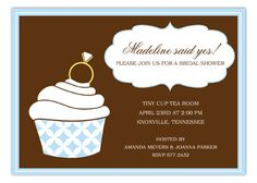 invitations for a bridal shower. love the cupcake & ring on top