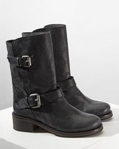 Crafted in Portugal from buttery soft leather, our Ruby boots have a biker feel to them. Features include two buckles with adjustable leather straps, a rounded toe and small heel. These are the perfect weekend winter boot.