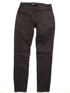 3X1 size 25 Skinny crop Coated moto W1 low rise waist Black Stretch Womens jeans #3x1 #CapriCroppedSlimSkinny