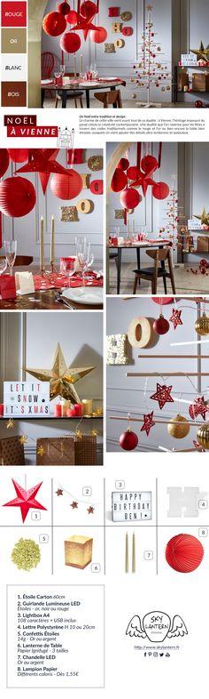 ☆ NOËL À VIENNE ☆ La déco de Noël 2017 passe au rouge et au doré : de la décoration papier à suspendre à côté de votre table de fêtes : lampions, lanternes, boules japonaises et étoile rouge en carton à shopper sur skylantern.fr #christmas #noel #paperlantern #lantern #lanterne #Lanterns #lampion #lampions #rouge #red #gold #or #trends #2017 #traditionnel #candle #bougie #fêtes #etoile #voute #ruban #suspension #grappe #decor #decorations #decorating #star #etoile
