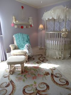 "One of my customers just sent me a link to photos of the lilac and aqua nursery she prepared for her daughter Lea (I made the aqua and pastel throw blanket for her at CricketsHome decor knits)! Full photo gallery can be viewed by clicking this image a couple of times.  :)  It's called ""Lea's Lilac Nursery"" on Project Nursery"