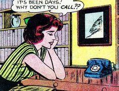 "Comic Girls Say."" It's been days.Why don't you call ? Vintage Pop Art, Vintage Cartoon, Vintage Comics, Pop Art Images, Book Images, Roy Lichtenstein, Old Comics, Comics Girls, Pulp Fiction Book"