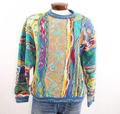 Vtg 90's COOGI Australia Sweater Pullover Multicolored Cosby XL Mens Mercerised Cotton, men's winter fashion