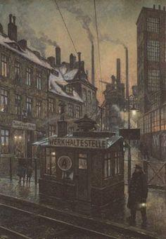 """""""Werkhaltestelle,"""" Hans Baluschek (1876 - 1935)"""