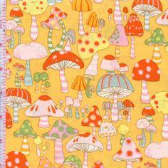 Pocket Pixie - Mushroom City by Alexander Henry Fabrics Color: Cheddar  $9.49/yd