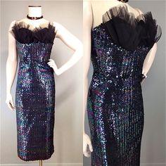 Starlet Tulle Shelf Bust Wiggle Sequin Bombshell Vtg 50s 60s Strapless Dress  #NoLabel