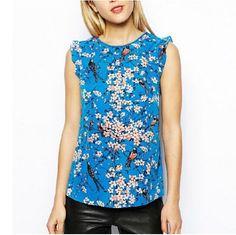 Barato St1558 New moda feminina ' elegante floral azul ruffles blusas O pescoço…