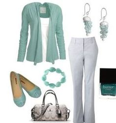 Cute for church or Casual work wear. Turquoise or teal are amazing statement colors against grey. Summer Outfits, Casual Outfits, Cute Outfits, Fashion Outfits, Womens Fashion, Work Outfits, Outfits 2014, Outfit Work, Grey Outfit