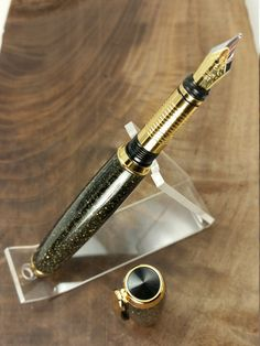 Handmade Black and Gold Glitter Acrylic Fountain Pen With Gold. Custom Pens. Made in USA by MiniWoodProductions on Etsy