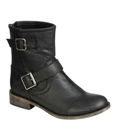 Take a look at this Black Fresno-11 Buckle Ankle Boot on zulily today!