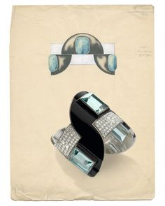 A geometric style Art Deco hinged bangle bracelet by Jean Fouquet, with semi-circular panels enamelled in black, each set with a large step-cut aquamarine between pavé diamond panels. Accompanied by the original design from the Fouquet archives, dated 1927