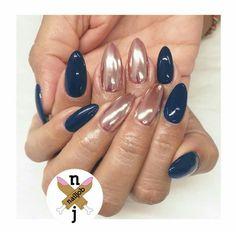 Nails, Nails, Nails — NAVY + ROSE GOLD CHROME