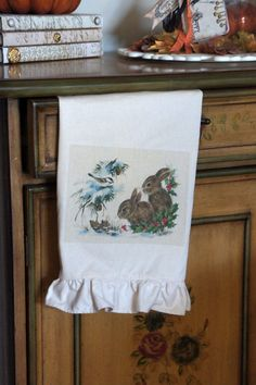 Snow Bunnies Christmas Tea Towel by kathycreativehome on Etsy