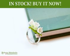 Ring Lily of the valley  Polymer Clay Flowers by SaisonRomantique