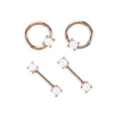 14G Steel Rose Gold White Opal Nipple 4 Pack Hot Topic ($17) ❤ liked on Polyvore featuring jewelry, bead jewellery, steel jewelry, beaded jewelry, opal jewelry and opal jewellery