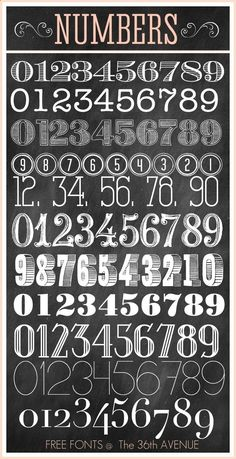 Awesome Number Free Fonts http://@Matt Valk Chuah 36th Avenue .com Enjoy! #fonts #numbers