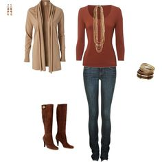 wouldn't be able to fit into those jeans but the outfit is cute!!
