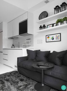 Monochrome and minimalistic. Who wouldn't love this living room. #monochrome #minimalistictheme