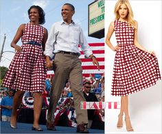 First Lady Michelle Obama ASOS Skater Dress In Check Print