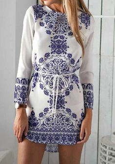 White Floral Belt Vintage Long Sleeve Cotton Dress - Mini Dresses - Dresses