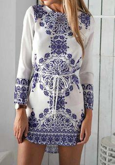 White Floral Belt Vintage Long Sleeve Cotton Dress - Mini Dresses - Dresses
