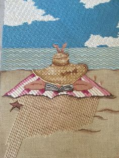 needlepoint beach scene, Heather Stillufsen is the Illustrator. Needlepoint Designs, Needlepoint Stitches, Needlepoint Canvases, Crochet Stitches, Needlework, Crewel Embroidery, Cross Stitch Embroidery, Machine Embroidery, Stitch Box