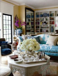 Windsor Smith's sofa upholstered in an antique embroidered textile