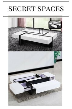 Storm Coffee Table In White And Black High Gloss With 4 Drawers - Couchtisch Centre Table Design, Tea Table Design, Centre Table Living Room, Table Decor Living Room, Center Table, Modern Square Coffee Table, Coffee Table With Drawers, Contemporary Living Room Furniture, Decorating Coffee Tables