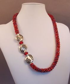 Pewter Pomegranate Necklace Red Czech Glass by JasmineTeaDesigns, $190.00