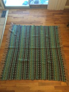 Vintage Green Brown & Navy Plaid PENDLETON 100% Wool Fringed Blanket 54x50 Aztec