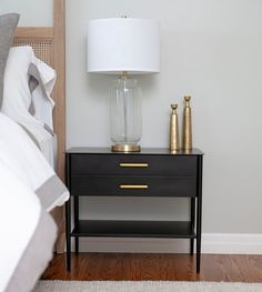 Chic black, white, and gold bedside table.