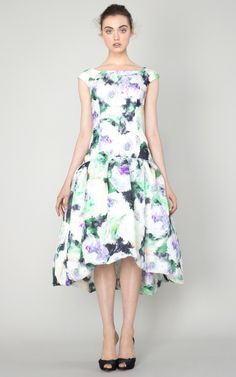 Floral Silk Basketweave Cocktail Dress by Marchesa for Preorder on Moda Operandi