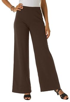 Roamans Women's Plus Size Ponte Wide Leg Pants (Chocolate,12 W) Roamans http://www.amazon.com/dp/B006PTSKFM/ref=cm_sw_r_pi_dp_YxDbvb14QYB5P