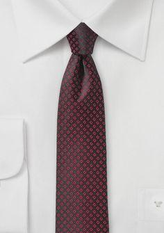 Krawatte schlank Kästchen-Oberfläche teerschwarz rot