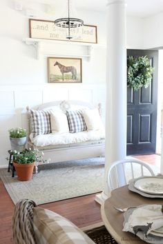 How to Dye Canvas Drop Cloth – The Crowned Goat Stenciled Curtains, Canvas Drop Cloths, Cottage Furniture, Painted Cottage, Spring Home Decor, Decorating Blogs, Slipcovers, House Tours, Goat