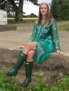 Raincoat and Wellingtons, perfect for the rain.