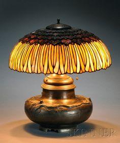"Mosaic Slag Glass and Bronze Table Lamp * 18"" dia."