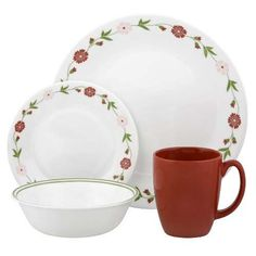 Tabletop Corelle Contours 16-Piece Dinnerware Set, Spring Pink, Service for 4 -- Continue to the product at the image link.