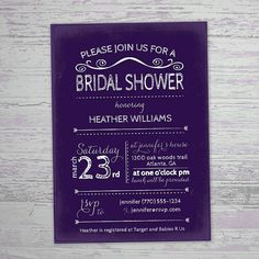 Chalkboard Invitation  Purple Bridal Shower by PaperFinchDesign, $20.00