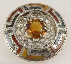 Victorian Scottish Agate & Topaz Silver Brooch - Circa 1900   eBay