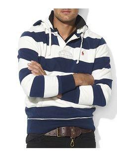 Hoodie Pick: Polo Ralph Lauren Hoodie, Classic-fit Stripe Fleece Rugby  Hoodie -