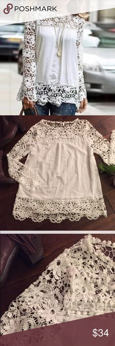NEW White Crochet Trim Baby Doll Tunic   New fun and flirty white rayon baby doll with crochet trim. I love this top and have it in several colors. What you need to know: the crochet is a tad delicate, which was a little disappointing but it's still so adorable. Perfect when styled with your favorite distressed jeans and boots. Please take a look in my closet for this top in other colors  Size medium in Juniors. Two available  Tops Blouses