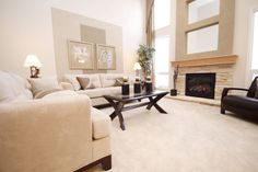 how to set up living room with a modern fireplace and L couch arrangement Bedroom Carpet, Living Room Carpet, Living Room Furniture, Dining Rooms, Cleaning Microfiber Couch, Sofa Cleaning, Upholstery Cleaning, Sofas, Inexpensive Flooring