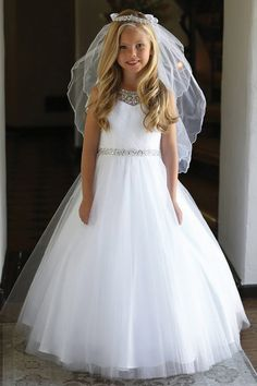 Angels Garments Pleated Bodice Tulle Dress w/ Jeweled Neckline & Belt Girls First Communion Dresses, Holy Communion Dresses, First Holy Communion, Communion Hairstyles, Homecoming Dresses Tight, Tea Length Bridesmaid Dresses, Girls Dresses, Flower Girl Dresses, Lace Dresses