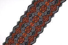 Stretch Lace black orange color two tone lace lingerie black