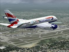 British Airways Airbus A380-800 decorated for the 2012 Olympics, flying over London Heathrow airport (I think)