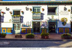 GUATAPE, COLOMBIA - DECEMBER 14, 2016: the city hall colorful facade.